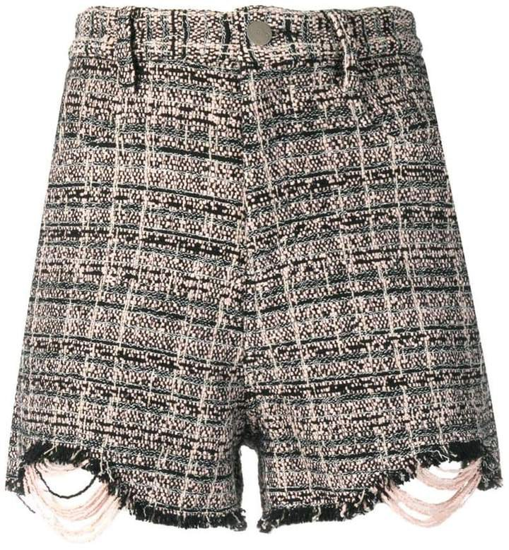 fitted tweed shorts