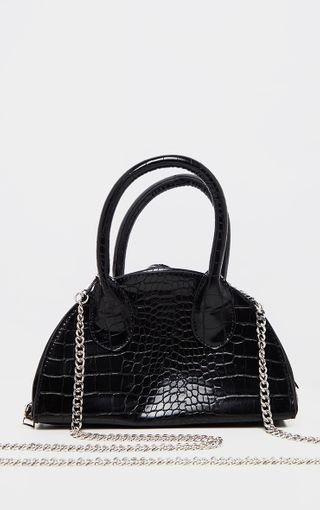 Black Croc Half Circle Mini Grab Bag | PrettyLittleThing
