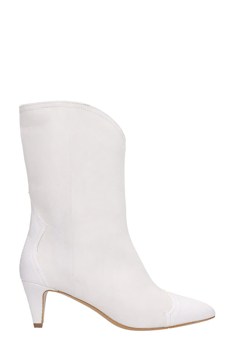 The Seller Ankle Boots In White Suede And Leather