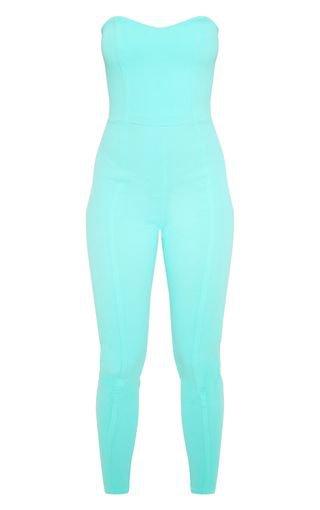 Aqua Blue Bandeau Slim Leg Jumpsuit | PrettyLittleThing