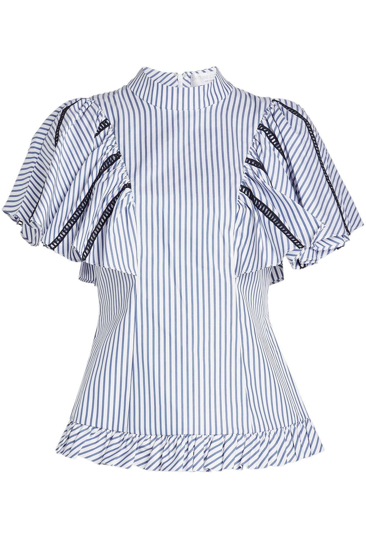 Striped Cotton Blouse with Ladder Trims Gr. XS