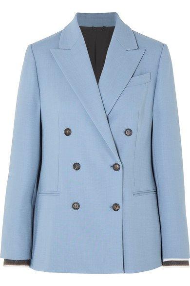 Brunello Cucinelli   Double-breasted wool-blend blazer   NET-A-PORTER.COM