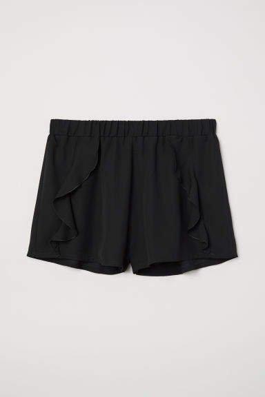 Ruffle-trimmed Shorts - Black