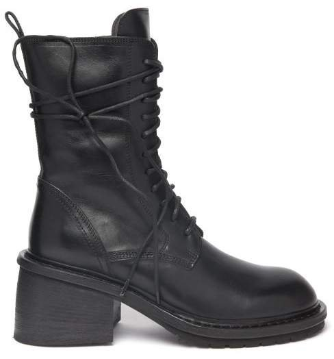 Block Heel Lace Up Leather Ankle Boots - Womens - Black