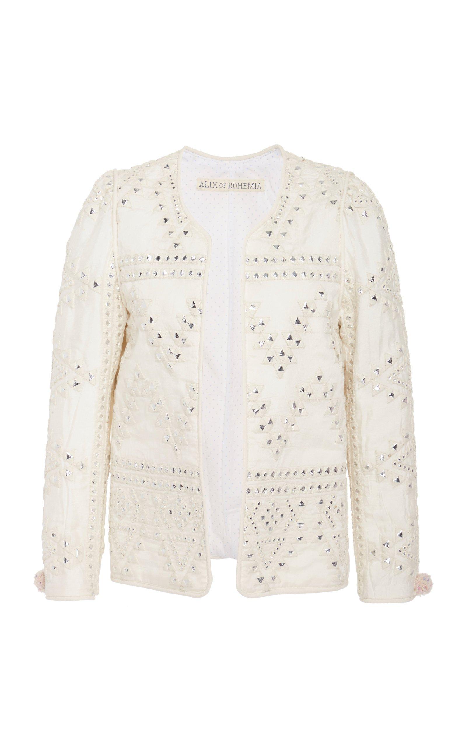 Alix of Bohemia Jasmine Studded Silk And Cotton Jacket