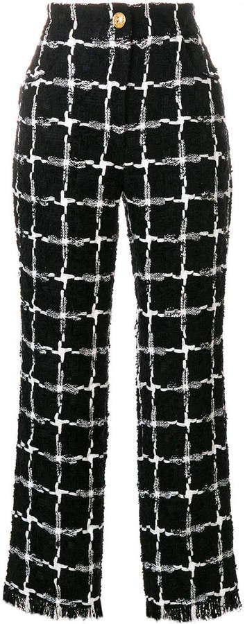 grid pattern raw edge trousers