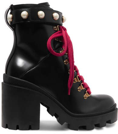 Trip Faux Pearl-embellished Leather Ankle Boots - Black