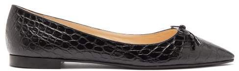 Bow Front Crocodile Effect Leather Ballet Flats - Womens - Black
